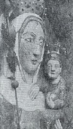 Fig. #C2a(top): An old photo of the face close-up of 8 meters tall stucco statue of Virgin Mary from the Malbork Castle.